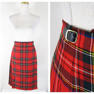 Vintage Lands End Tartan Wool School Girl Skirt